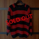 "RALEIGH ""GUARDIAN ANGELS"" STRIPE SWEATER[BLACK x RED]"