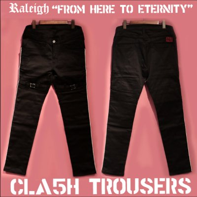 "画像1: RALEIGH ""FROM HERE TO ETERNITY"" CLA5H CITY TROUSERS[BLACK (WHITE PIPING)]"