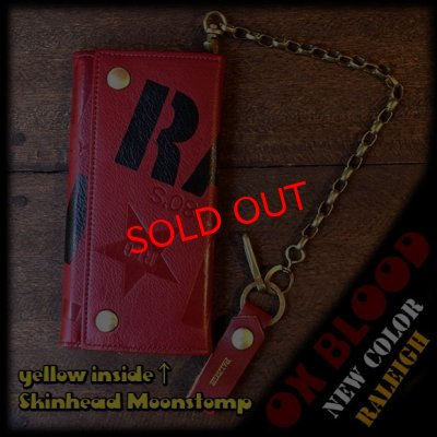"画像1: 【再入荷】RALEIGH ""SMUGGLER"" LEATHER WALLET with ""HIDEOUT"" WALLET CHAIN[OX BLOOD (yellow inside, Skinhead Moonstomp) ]"