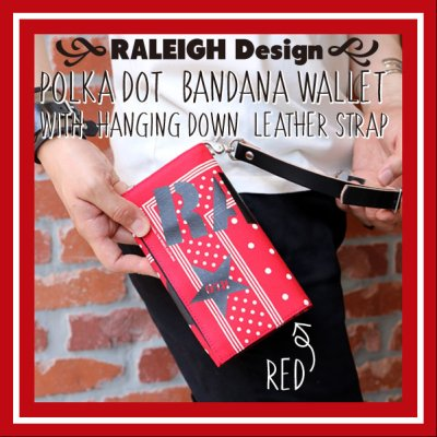 "画像1: RALEIGH Design ""POLKA DOT"" BANDANA WALLET with ""HANGING DOWN"" LEATHER STRAP(RED/WH)"